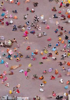 Residents of  Vrindavan, India, taking a stroll | Photo by Katrin Korfmann with Pin-It-Button on http://www.dailymail.co.uk/news/article-2257487/Birds-eye-view-life-Breathtaking-pictures-shot-capture-bustle-Manhattan-Pamplonas-running-bulls-colorful-Indian-festival.html