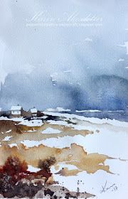 It is Sunday and I'm here to share a new watercolor.        I use Winsor Newtons Artists' (- Professional as they now are called )watercolor...