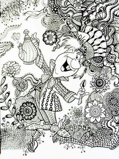 Mad Hatter zen tangle coloring page. Disney's Alice in Wonderland