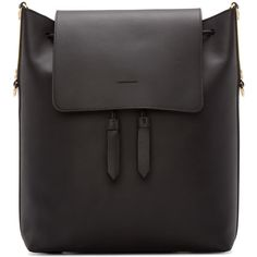 Sophie Hulme Black Leather Claremont Backpack ($975) ❤ liked on Polyvore featuring bags, backpacks, backpack, black, metallic backpack, genuine leather backpack, leather rucksack, leather backpack bag and real leather backpack