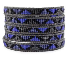 Chan Luu - Royal Blue Mix Beaded Wrap Bracelet on Natural Grey Leather, $210.00 (http://www.chanluu.com/mens-wrap-bracelets/royal-blue-mix-beaded-wrap-bracelet-on-natural-grey-leather/)