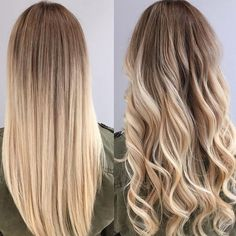Plat ou frisé?  #lookdujour #ldj #hair #hairdo #hairstyle #blonde #ombre #straight #curly #waves #leftorright #vote #whichone #regram  @angelo_milano_88