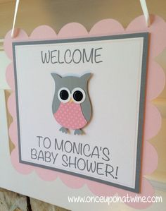 Owl BABY SHOWER Sign Pink and Gray  by OnceUponATwineDesign