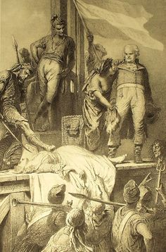 File:Mihály Zichy - Illustration to Imre Madách's The Tragedy of Man - In Paris (Scene 1793 AD Adam is Georges Danton, Lucifer is an executioner, Eve appears in two forms, first as an aristocrat about to be executed, then as a bloodthirsty poor woman. Children Of The Revolution, French History, French Revolution, Illustrations, Marie Antoinette, 18th Century, Fine Art, Drawings, Artist