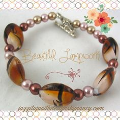 Brown Black Beige and White contrasted #beaded #bracelet with #heart shaped clasp @ntonelli