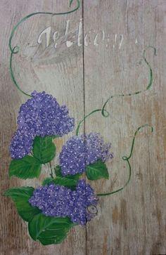 Made by myself, hortensia op steigerhout, sloophout, old wood, buiten schilderij