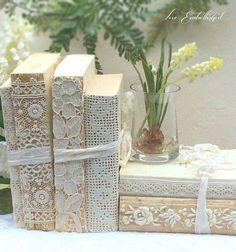 Lace covered books. I love this idea!