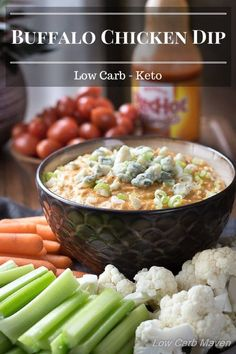 Looking for an easy low carb appetizer? Serve this low carb Buffalo Chicken Dip as a hot appetizer at your next keto party or gathering.