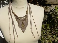 Hand Crafted Woodland Warrior Leather Necklace by RustyRootDesigns, £36.00