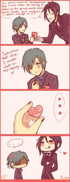 Black Butler (Kuroshitsuji) ~ Sebastian and Ciel -- Valentine's Day comic strip