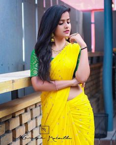 In a yellow color saree and contrast green color elbow length sleeve blouse design Beautiful Girl Photo, Beautiful Girl Indian, Most Beautiful Indian Actress, Beautiful Saree, Beautiful Women, Beautiful Models, Beauty Full Girl, Beauty Women, Sarees For Girls