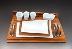 Mario Gagnon (born in for ALTO DESIGN Proposed Design for Dinnerware and Flatware 2004 Walnut, resin, porcelain On loan from Alto Design, Montreal Photo MMFA, Christine Guest Museum Of Fine Arts, Bon Appetit, New Recipes, Dinnerware, Plates, Weekly Newspaper, Hui, Exhibit, Home