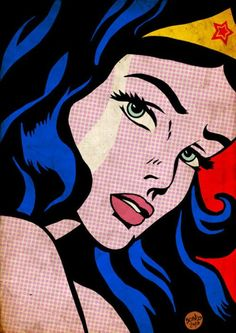 Roy lichenstein Pop art is about bold colours and patterns, and use of shapes to create a cartoony effect. I feel this image is important since it is of a super heroes so is relevant to the style of pop art because I feel it has a cartoony effect. I also feel the face of this womAn is very well draw.