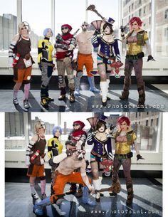 From left to right: Tiny Tina (Fae Lunsford), Maya (Laura Bronkhorst), Mordecai (Anton La Vito), Psycho (Mike Prost), Mad Moxxi (BelleChere), and Lilith (Kearstin Nicholson)   From the Borderland video game series   Photos by Photo Tsumi — with Fae Lunsford, laura bronkhorst, Anton La Vito, Mike Prost and Kearstin Nicholson at C2E2 At McCormick Place.