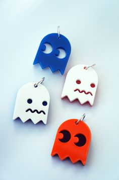 Pacman Ghost Acrylic Plastic Necklace Charm - Plastic Monster on Etsy - https://www.etsy.com/listing/103407064/pacman-ghost-acrylic-plastic-necklace