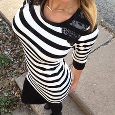 NWT Black White Stripe Sweater Tunic Dress Size S So chic! Boutique Sweaters