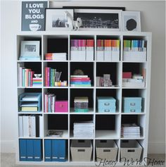 IKEA Kallax that used to be Expedit is a simple and cool shelving unit that must be adjusted to the wall. We're here to show you many ways to hack it . Office Organization At Work, Home Office Organization, Organizing Your Home, Home Office Decor, Home Decor, Organization Ideas, Office Ideas, Bookshelf Organization, Organized Office