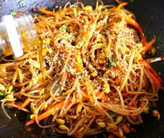 Spicy bean sprout side dish with carrots Korean Dishes, Korean Food, Korean Recipes, K Food, Food Menu, Bean Sprout Soup, Vegetable Seasoning, Desert Recipes, Cooking Classes