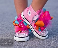 Mini Converse high tops with rainbow ribbon