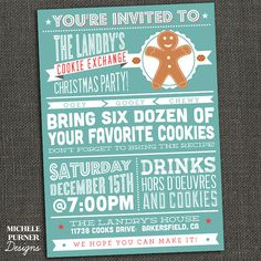 Cookie Exchange or Oranment Exchange or Gift Exchange - Holiday Christmas Party Invitation -  Printable or Printed for you