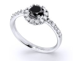 White gold Halo diamond ring with a central brilliant-cut black diamond accompanied by 22 white brilliants Halo Diamond, Black Diamond, Sapphire Rings, Diamond Jewelry, 18k Gold, Emerald, Engagement Rings, Detail, Design