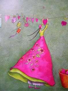 """Hearts on the Line"" Gaelle Boissonnard would be good for quilt appliqué Art Fantaisiste, Art Carte, Heart Art, Whimsical Art, Medium Art, Love Art, Pink And Green, Illustration Art, Artsy"