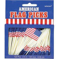American Flag Party Picks - Patriotic - Party Themes PlatesAndNapkins.com