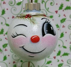 Best 11 This Smiling Snowman looks upon all the activity going on in your home during the Holiday Season. He is made of glass and is 2 inches wide. He is free handed so although he may look similar to other ornaments he is always just a touch different Painted Christmas Ornaments, Hand Painted Ornaments, Handmade Ornaments, Christmas Art, Christmas Projects, Christmas Bulbs, Christmas Decorations, Snowman Ornaments, Earrings Handmade