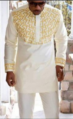 White And Gold Men's African Clothing Ankara Dashiki Men's Wear Fashion Wedding Shirt Pant Suit Cocktail Casual Engagement Bachelor Party - White And Gold Men's African Clothing Ankara Dashiki Men's Wear Fashion Wedding Shirt Pant Suit - African Clothing For Men, African Shirts, African Men Fashion, African Women, African Clothes, Ankara Fashion, Tribal Fashion, Dashiki Shirt, Dashiki For Men