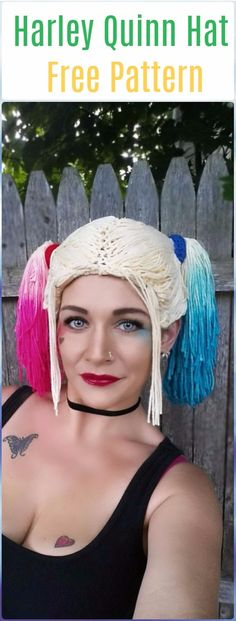 Ravelry: Harley Quinn Inspired Wig Hat pattern by Stephanie Pokorny Crochet Wig Pattern, Crochet Beanie, Knit Or Crochet, Cute Crochet, Knitted Hats, Crochet Wigs, Halloween Hats, Halloween Crochet, Harley Quinn