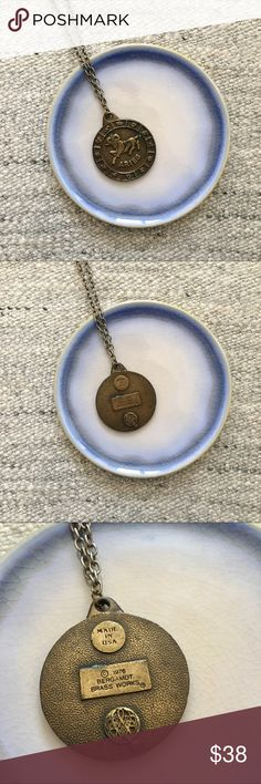 '76 / Aries Zodiac Pendant Bergamot Brass Works Aries pendant stamped 1976, made in the USA. Measures 21 inches long.  → Style inspiration: Chrissie Hynde ☒ I do not model or trade, sorry! ❁ Check out my closet for more vintage! Vintage Jewelry Necklaces