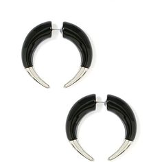 Lock Horns Tunnel Earrings ($18) ❤ liked on Polyvore featuring jewelry, earrings, piercing, accessories, faux plug, black, silver jewelry, imitation jewelry, fake earrings and imitation jewellery