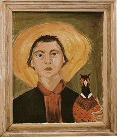 Flannery O'Connor, self-portrait with peacock.  She was so weird and awesome.