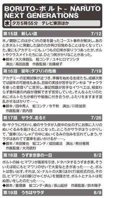 Los resúmenes extendidos han revelado los títulos de los episodio #17, #18 y #19.  Episodio #15: Un nuevo camino | 12 de julio  Episodio #16: Crisis de repetir el año (escolar) | 19 de julio Episodio #17: ¡¡Corre, Sarada!! | 26 de julio Episodio #18: Un día con la familia Uzumaki | 2 de agosto...