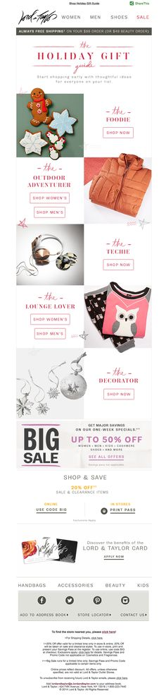 Holiday Gift Guide email from Lord & Taylor.