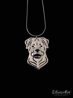 Rottweiler jewelry  sterling silver pendant by SiberianArtJewelry, $99.00