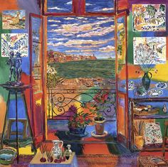 """""""Matisse's Studio in Collioure,"""" mixed media on canvas, 66 x 66 in, 2005, Damian Elwes"""