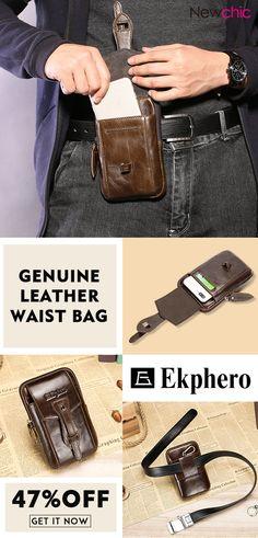 d36389db34 EKPHERO Vintage Genuine Leather Business Casual Waist Bag Phone Bag For Men  is hot-sale