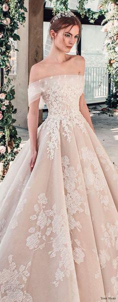 tony ward mariee 2019 off the shoulder straight across neckline full embellishment romantic princess blush ball gown a line wedding dress royal train (1) zv