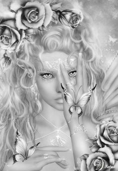 Roses Butterfly Papillon Mariposas Vlinders Wings Gracefull Amazing Fairy Myth Mythical Mystical Legend Elf Fairy Fae Wings Fantasy Elves Faries Sprite Nymph Pixie Faeries Coloring pages colouring adult detailed advanced printable Kleuren voor volwassenen coloriage pour adulte anti-stress kleurplaat voor volwassenen