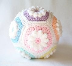 Crochet Baby Toddler Ball.. NOT free as sold, but the hexagon join is interesting...  nice idea, thanks so xox