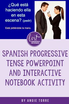 This 69-slide PowerPoint of the progressive tense or gerund can be used for Spanish Two, Three, Four and Five as it begins with the present progressive and continues to more advanced tenses. It is a complete lesson on the gerund and includes how to form the gerund, comparison between the present tense and the progressive, how to use pronouns with the gerund, infinitive vs. gerund, practices, Interactive Notebook Activity, student handout, and more. #SpanishProgressiveTense Spanish Interactive Notebook, Interactive Notebooks, Ap Spanish, Spanish Lessons, Spanish Vocabulary, French Teacher, Student Engagement, Lesson Plans, Activities