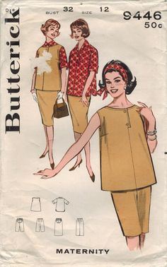 1960s Butterick 9446 Vintage Sewing Pattern Misses Maternity Coordinates Size 12 Bust 32