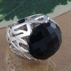 925 STERLING SILVER NEW STLISH BLACK ONYX CHAKER CUT RING 17.90g DJR2979 #Handmade #Ring