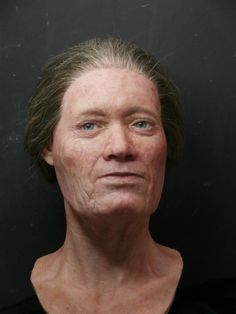 The facial reconstruction of 'Beitske' by Maja d'Hollosy who was aged 40 to 50 when she died around 650 CE. Her remains were found in tree-trunk coffin on a terp in Hogebeintum, Friesland