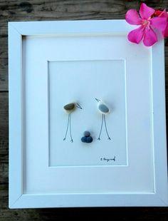 Pebble art birds family3 family art birds3 by pebbleartSmiljana