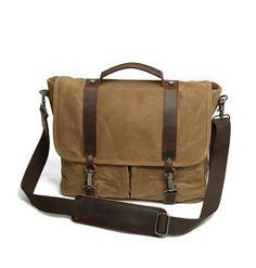 Waxed Canvas Leather Bag Messenger Bag Shoulder Laptop Bag CF13