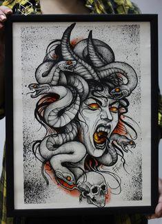 Dark Art Drawings, Art Drawings Sketches, Tattoo Sketches, Cool Drawings, Tattoo Drawings, Sketch Art, Wolf Tattoo Design, Medusa Tattoo Design, Tattoo Designs
