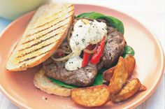 Grilled steak sandwich with tomato and spinach recipe