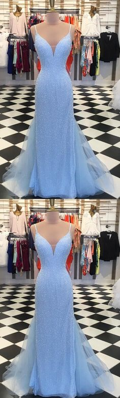 Sparkly Sequins Blue Mermaid Long Prom Dress M1087#prom #promdress #promdresses #longpromdress #promgowns #promgown #2018style #newfashion #newstyles #2018newprom#eveninggown#bluesequins#mermaidpromdress#sparklypromgown